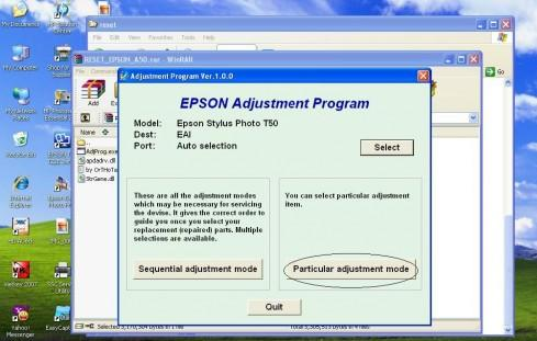 reset may in epson bang phan men Adjustment Program